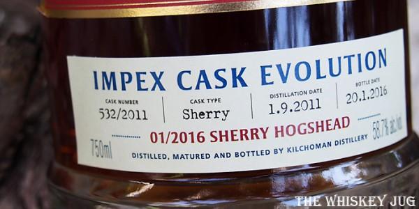 Kilchoman Single Sherry Cask Label