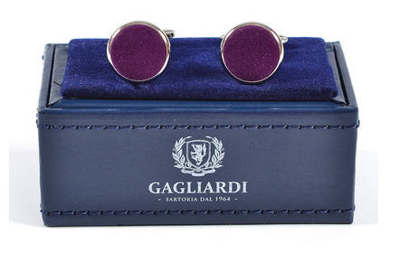 CLASSIC CIRCULAR CUFFLINKS WITH PURPLE SUEDE INSERT