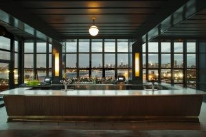 Manhattan skyline seen from the windows at Ides, photo courtesy Wythe Hotel