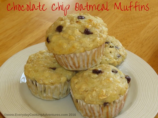 Chocolate Chip Oatmeal Muffins ©EverydayCookingAdventures2016-2