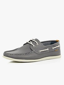 River Island Grey Leather Boat Shoes