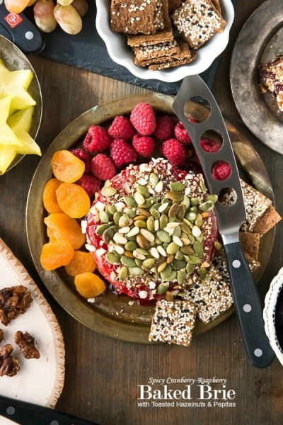 Spicy Cranberry-Raspberry Baked Brie with Toasted Hazelnuts and Pepitas - BoulderLocavore.com
