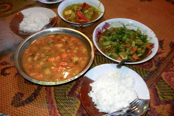 Our simple meal of eggplant curry, potato curry, rice and more in the jungles outside Chiang Mai