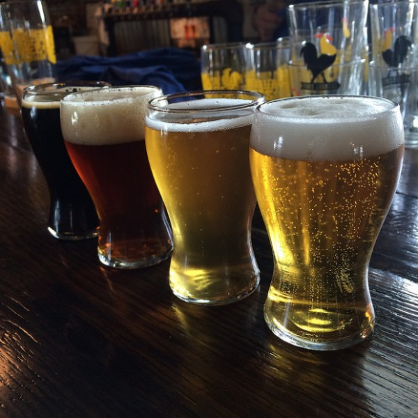 a flight at Four Corners Brewing