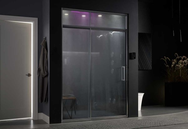 WaterTile mood-enhancing lights illuminate the shower.