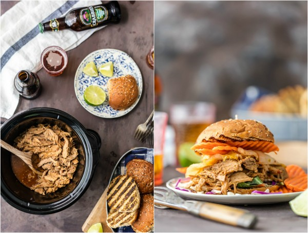 Wow the family with SLOW COOKER DRUNKEN GARLIC GINGER PULLED PORK SANDWICHES! Made in a crockpot with ginger beer! DELICIOUS way to tailgate or enjoy an easy recipe at home!