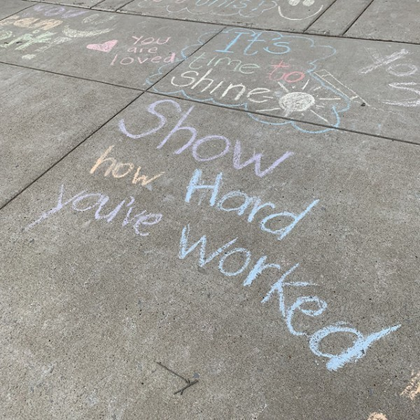 Teacher chalk messages