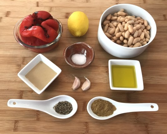 KitchAnnette Red Pepper White Bean Hummus Ingredients