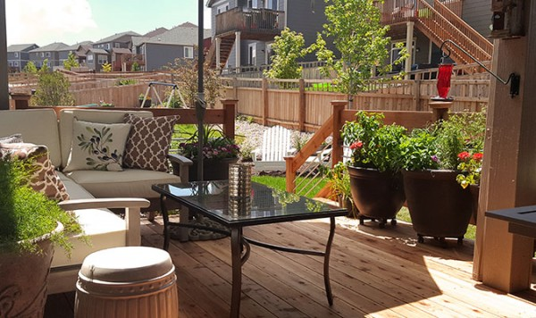 Deck with Pottery Barn Sofa and Table