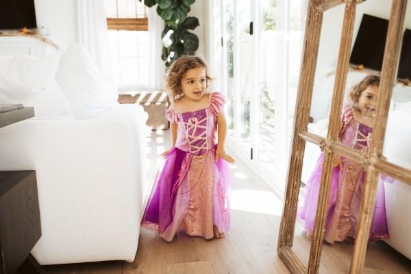 toddler dancing in dress