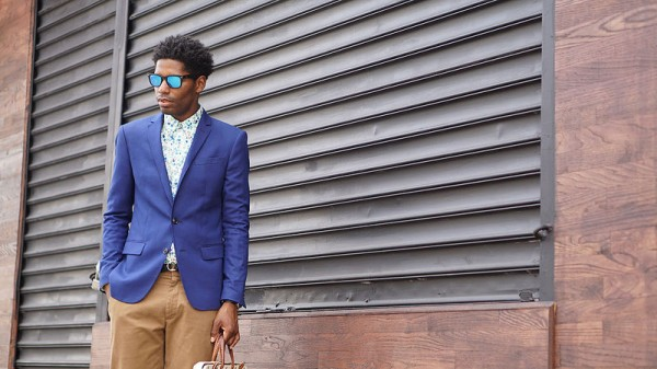 Blue Blazer, Floral Shirt, Mirrored Shades - Style Society Gu