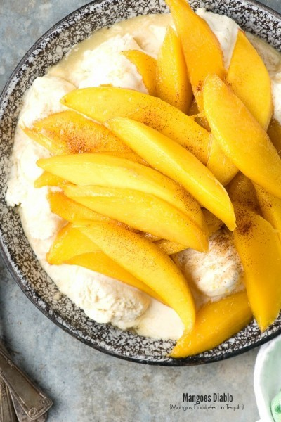 Mangoes Diablo (mangos flambeed in tequila) over Vanilla Ice Cream - BoulderLocavore.com
