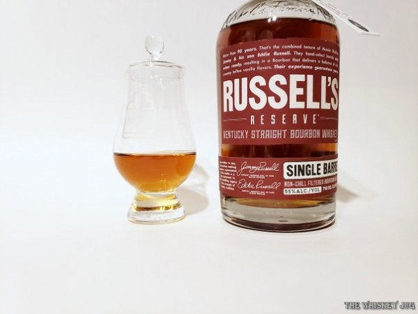 Russell's Reserve Single Barrel Bourbon 376 is a single cask of Wild Turkey aged for at least 10 years. This was bottled for K&L
