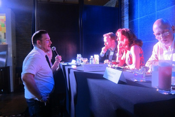 Daniel Sabo from the Ace explaining his drink to the judges