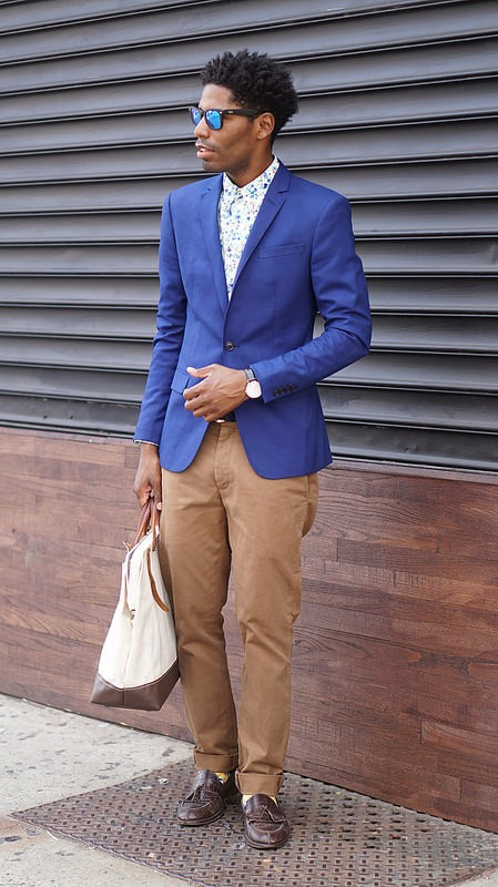 Blue Blazer, Floral Shirt, Chinos Mirrored Shades - Style Society Gu