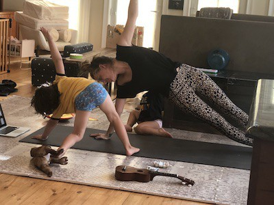 social distancing with kids yoga at home with mom