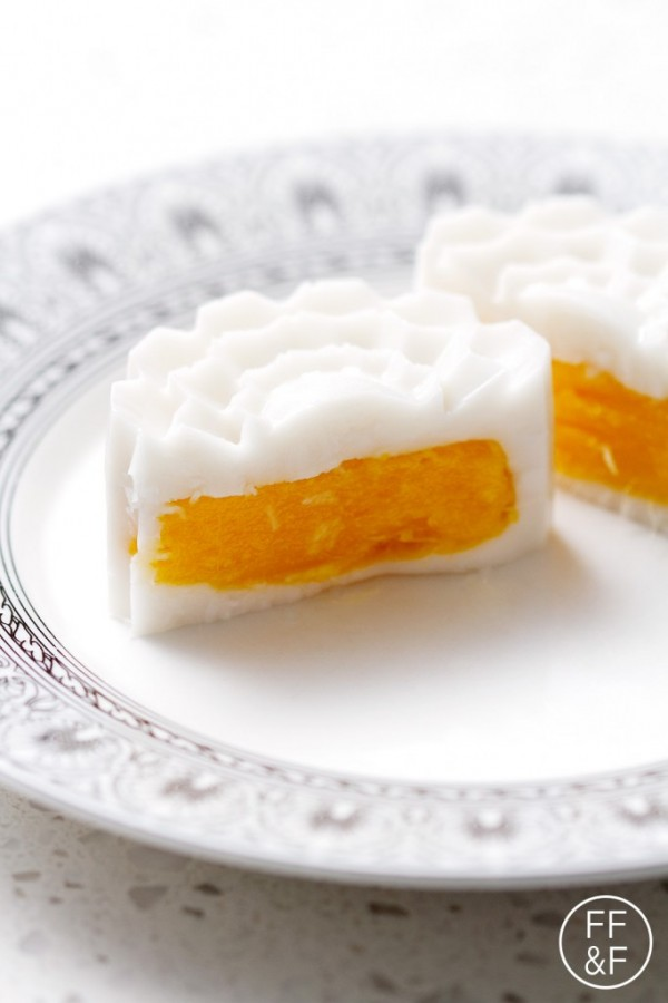 Mango Coconut Jelly Mooncakes made with Agar Agar to celebrate the Chinese New Year