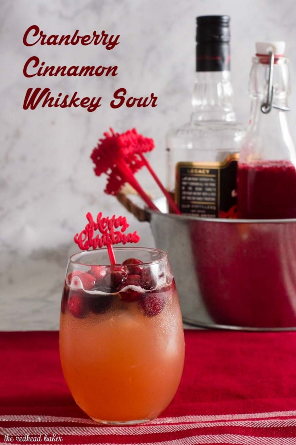 Cranberry cinnamon whiskey sour is an easy, festive cocktail for the Christmas season. Shake up a batch for your holiday party!