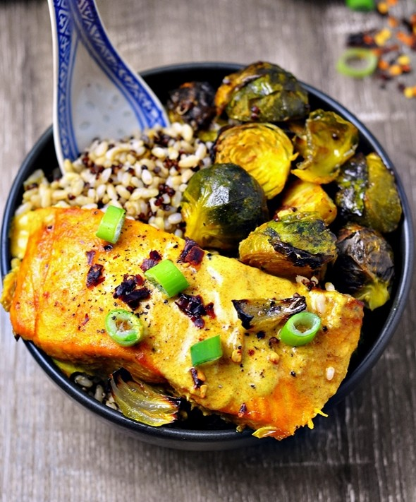 Grilled Turmeric Salmon and Brussel Sprouts with Curry Sauce by Fuss Free Cooking 1
