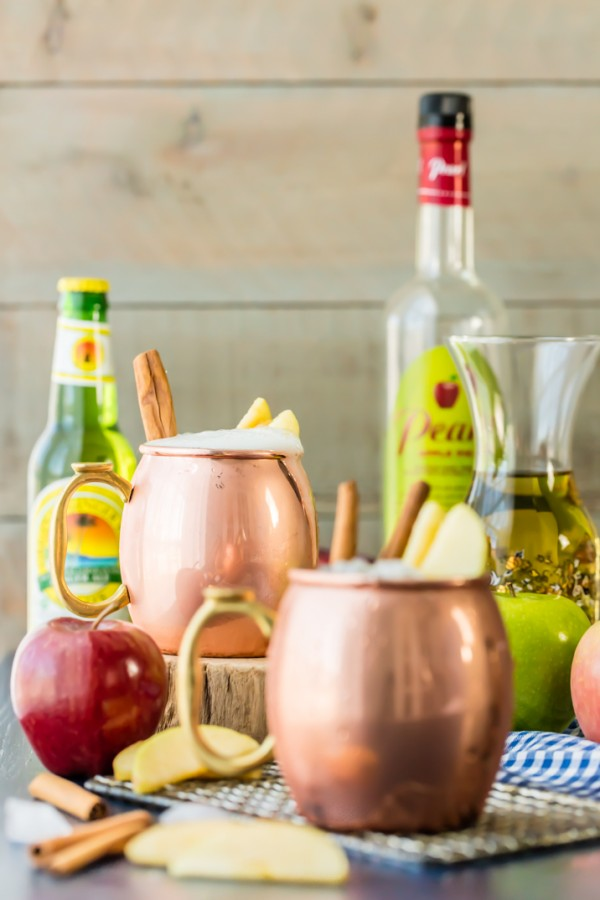 Apple Pie Moscow Mule (Plus Mocktail Version!) So fun for Fall! Apple Cider, Apple Pie or Caramel Vodka, and Ginger Beer! Easy, delish, and refreshing! Best cocktail ever!