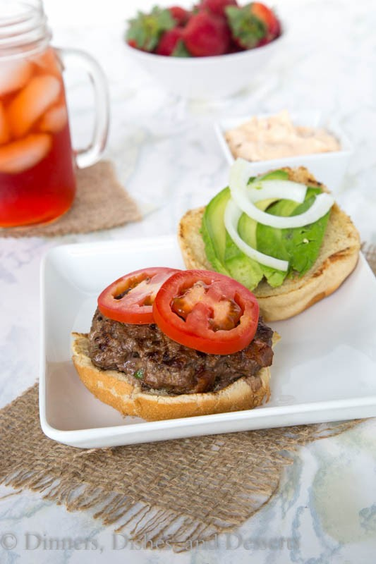 Jalapeno Bacon Burger - A burger with bacon and jalapenos in the patty!  Topped with a chipotle mayo for little smokey and spicy kick!