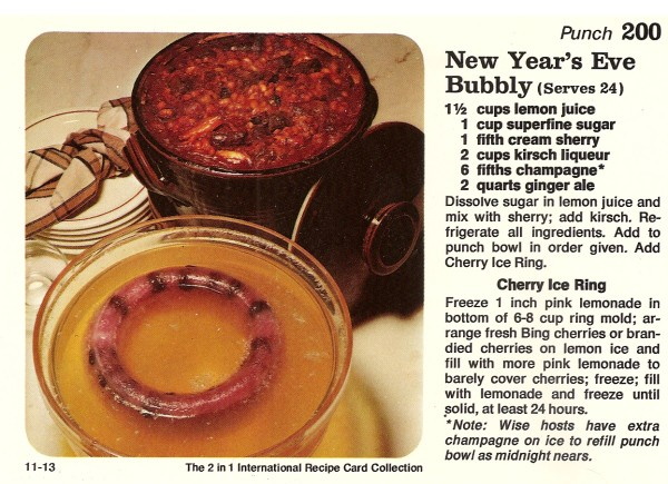 A 1977 New Year's Punch recipe card