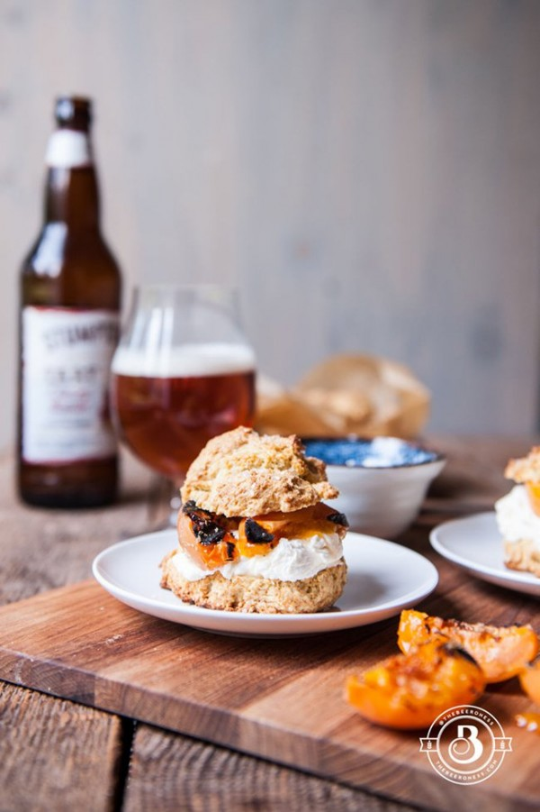 Grilled Apricot Saison Shortcakes with Ginger Mascarpone Whipped Cream | The Beeroness