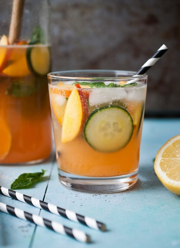 Sparkling Peach Cucumber Lemonade | Life is But a Dish