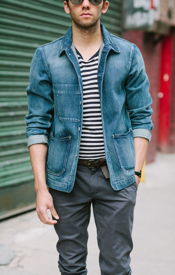 Uniqlo denim jacket for men, striped tee and Howe trousers for a spring menswear look