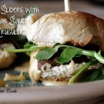 Steak Sliders with Cheddar Sauce and Arugula