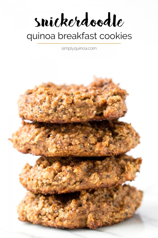 Wish you could have cookies for breakfast every day? YOU CAN! These Snickerdoodle Quinoa Breakfast Cookies are super healthy and SO FLAVORFUL!