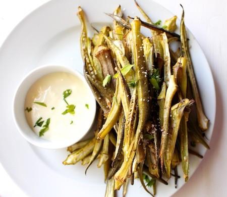 Garlic Roasted Okra with Lemon Aioli | LocalSavour.com