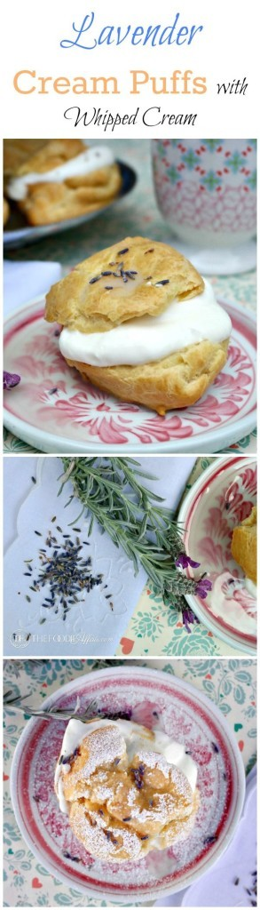 Lavender Cream Puffs filled with whipped cream and a lavender glaze - The Foodie Affair