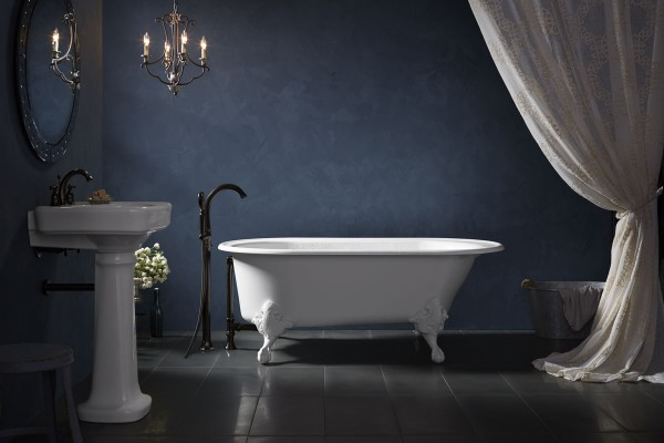 Iron Works Historic freestanding bath    Kelston bath filler    Iron Works Historic ball-and-claw feet    The classic appeal of the ball-and-claw feet and smooth, white finish of this freestanding bath bestow your space with unparalleled sophistication.