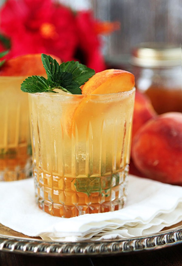 Bourbon and Peach Jam Smash