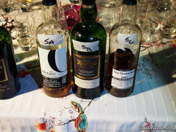 "Malt Nuts: 13 Drams of Ardbeg Round 5 - 5A: The Octave Ardbeg 16 years (97-13): 54.3% - ex-Bourbon and ex-Sherry, 5B: Ardbeg 21 years: 46% - ex-Bourbon, 5C: The Octave Ardbeg (teaspooned ""blended malt"") 17 years (97-15): 52.9% - ex-Bourbon & ex-Sherry"