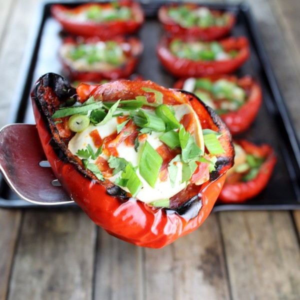 Smoked mozzarella chorizo peppers by holly epicurious for Side dishes to go with smoked chicken
