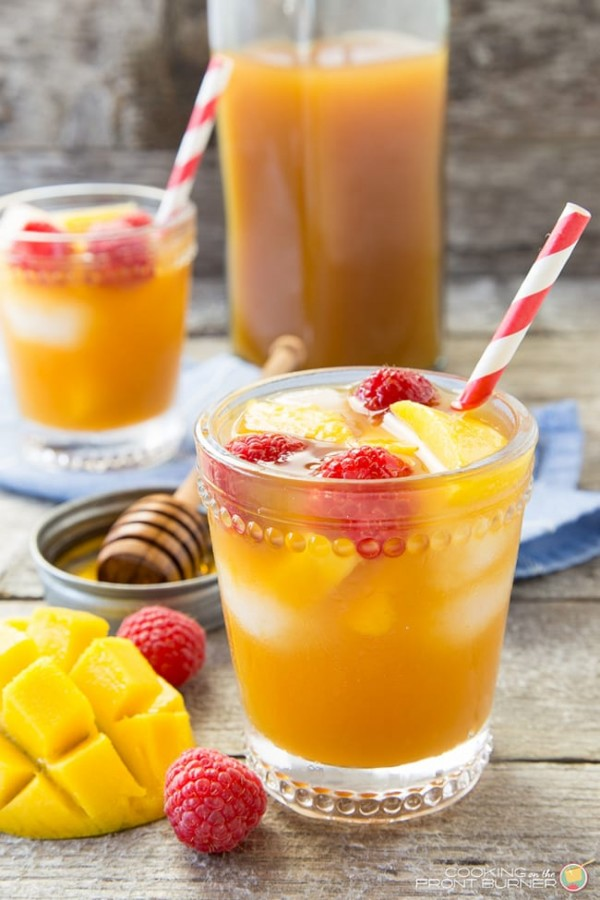 Raspberry Mango Iced Tea | Cooking on the Front Burner