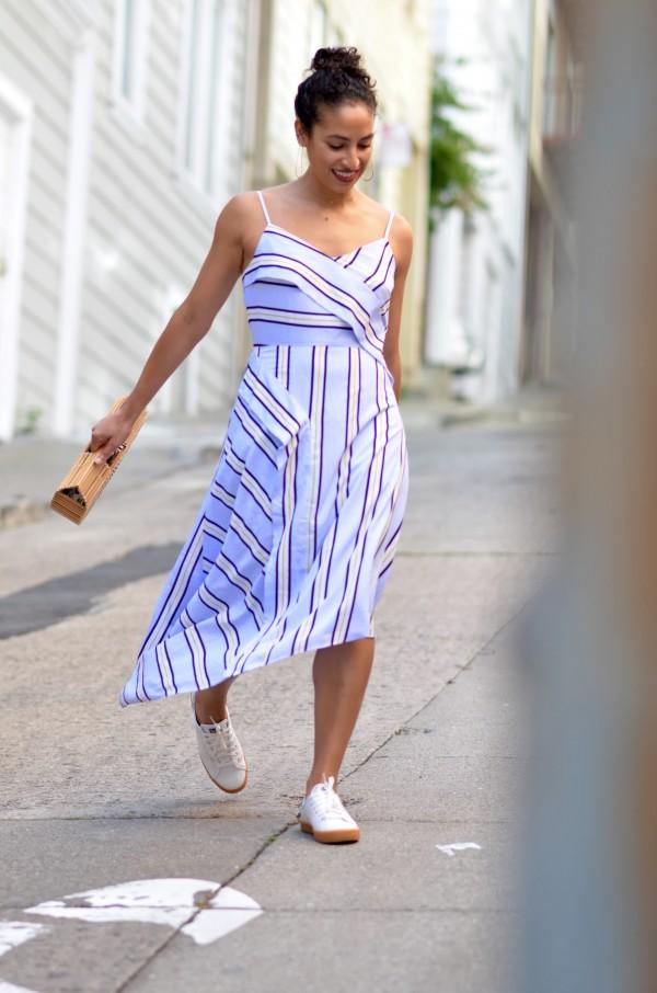 Keds shoes, sponsored post, Banana Republic stripe dress, large hoop earrings, SF style, chic street style