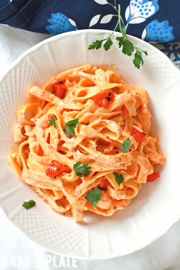 Enjoy a bowl of Roasted Red Pepper Fettuccine Alfredo
