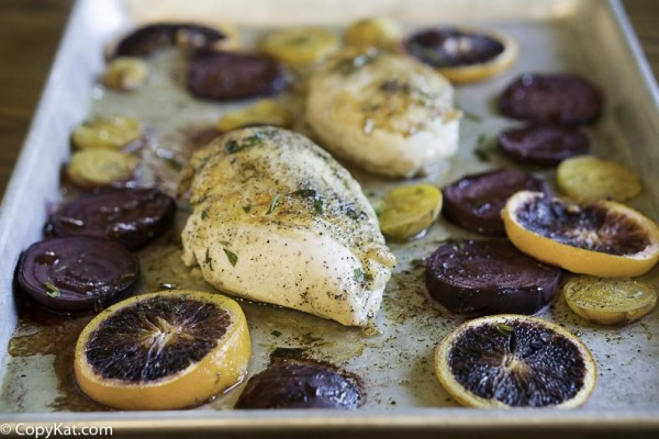 Chicken breasts, beets, oranges, and some fresh herbs make for an easy to prepare dinner.
