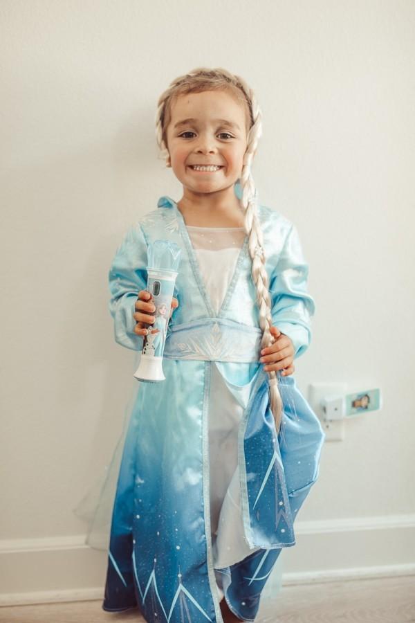 toddler in elsa princess dress