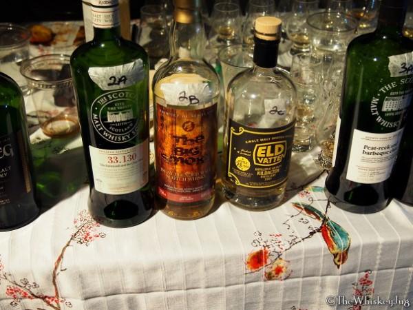 "Malt Nuts: 13 Drams of Ardbeg Round 2 - 2A: SMWS 33.130 Ardbeg 11 years (02-91): 56.1% - 2nd fill ex-Bourbon, 2B: The Big Smoke (old bottling): 60% - ""oak casks"", 2C: Eld Vatten Ardbeg 8 years (07-16): 57.7% - ex-Bourbon"