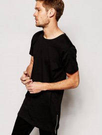 Selected Longline T-shirt With Side Zips