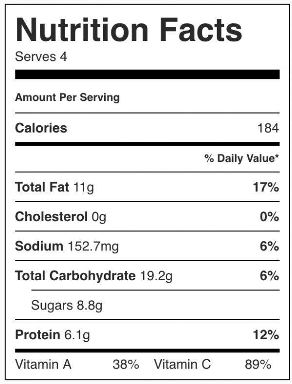 Maple Tahini Coleslaw Nutrition
