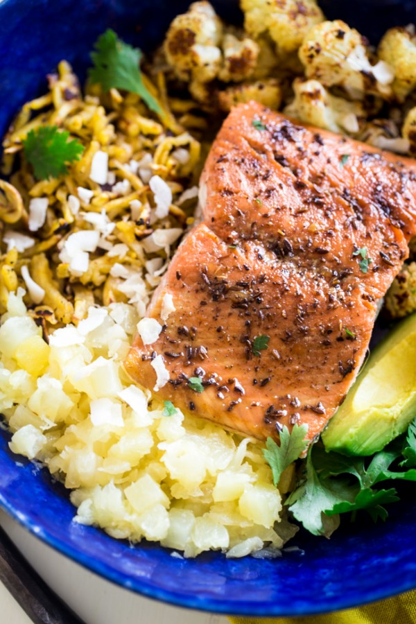 mixed with pineapple, spicy roasted cauliflower, sweet baked salmon ...