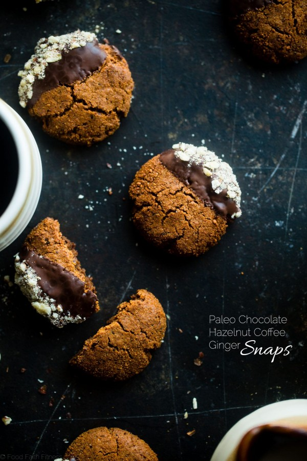 Paleo Chocolate Hazelnut Coffee Ginger Snaps - This easy, sweet and spicy paleo chocolate hazelnut healthy ginger snap recipe has notes of rich coffee! They're the perfect healthy, gluten free cookie for the Holidays!   Foodfaithfitness.com   @FoodFaithFit