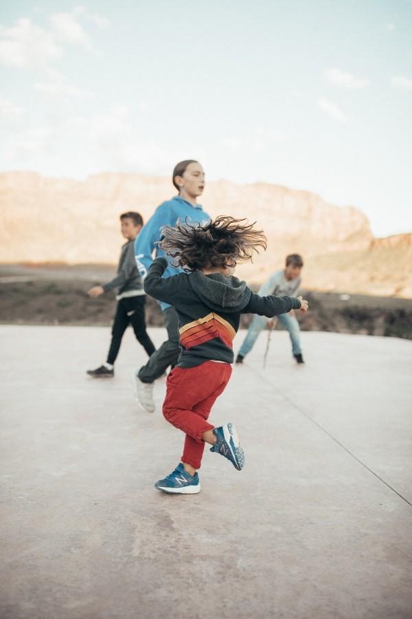 kids dancing outside