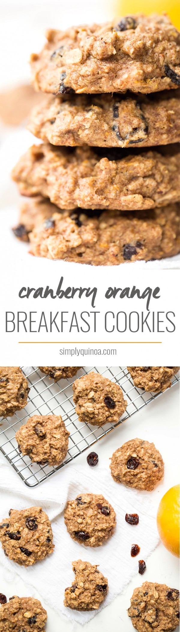 These AMAZING cranberry orange quinoa breakfast cookies have banana, almond butter, orange zest and tart cranberries, and they're actually HEALTHY | gluten-free + vegan