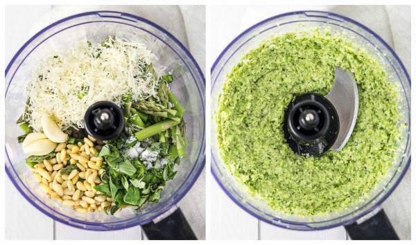 Naan Pizza with Asparagus Pesto, Prosciutto, Goat Cheese & Fontina- Food Processor Collage